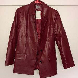 ASOS RED LEATHER JACKET